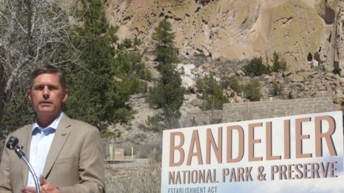 Sen. Martin Heinrich speaks at Bandelier National Monument on March 20, 2019.